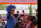Display of owl mascot during Nepal Owl Festival