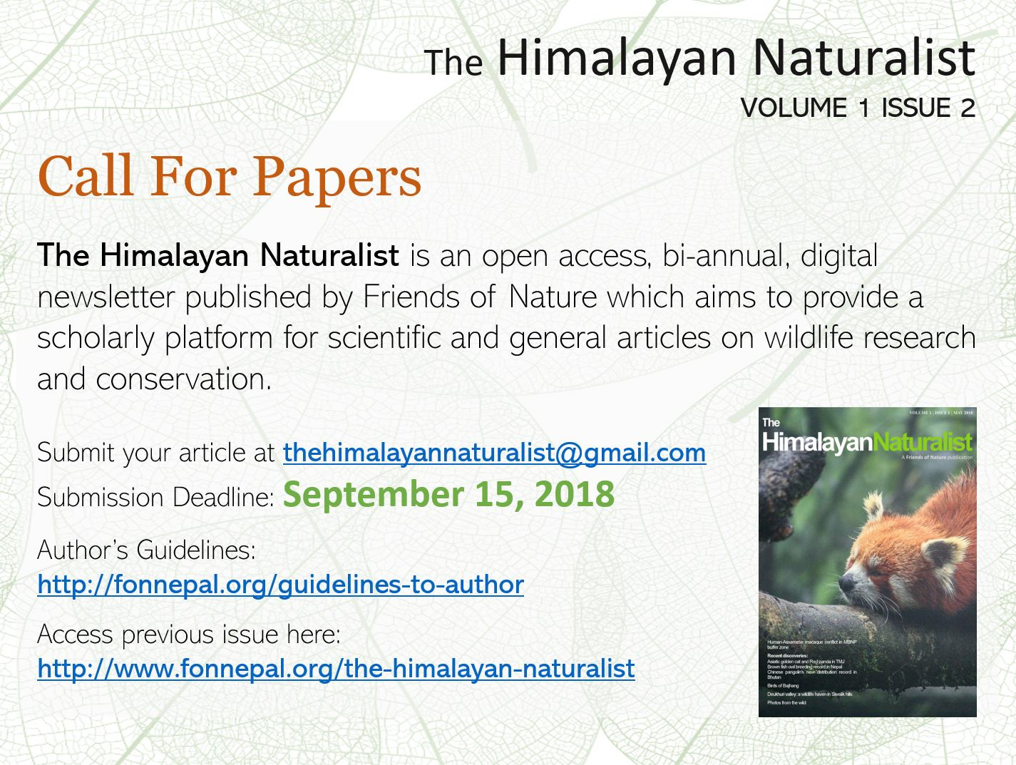 The Himalayan Naturalist Is An Open Access Bi Annual Digital Newsletter Published By Friends Of Nature Which Aims To Provide A Scholarly Platform For